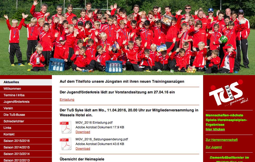 Website Fussball-Sparte Tus Syke