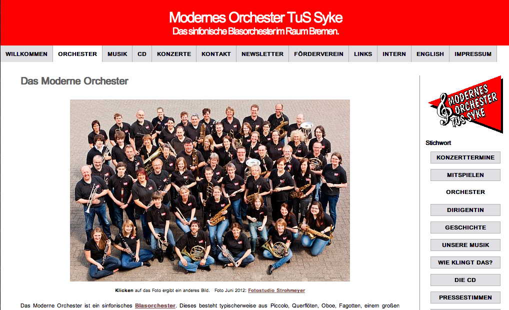 Website Moderes Orchester Tus Syke