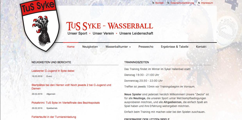 Website Wasserball Tus Syke