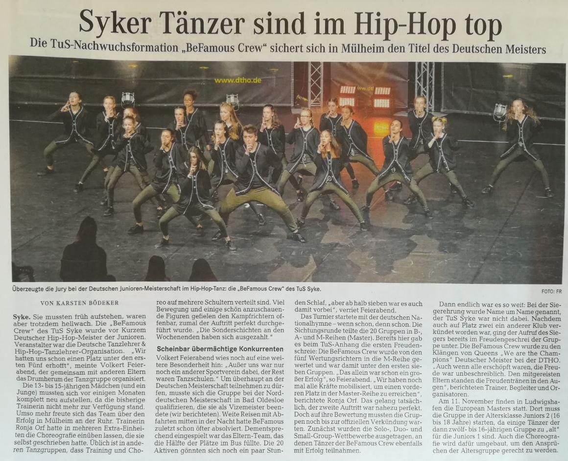 """Die TuS-Nachwuchsformation """"BeFamouse Crew"""" sichert sich in Mülheim den Titel des Deutschen Meisters"""