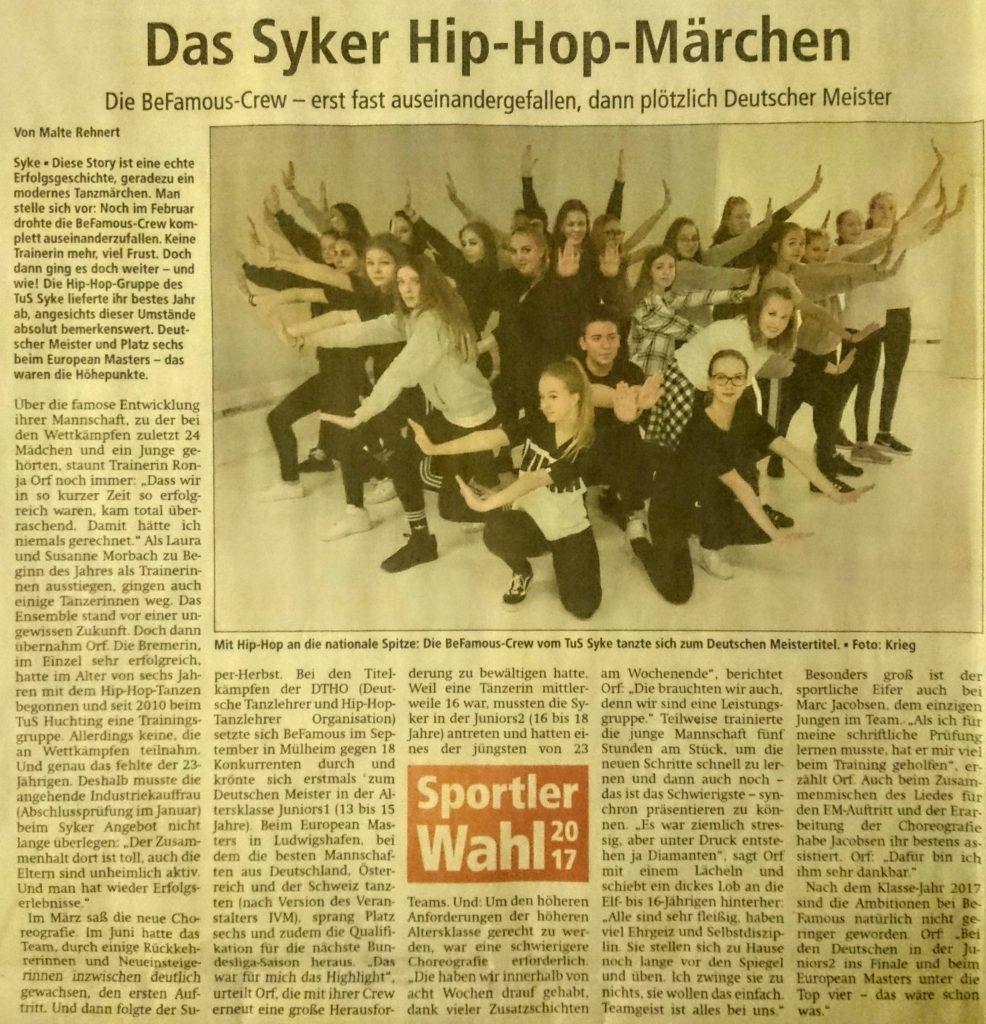 """Artikel """"Das Syker Hip-Hop-Märchen"""""""