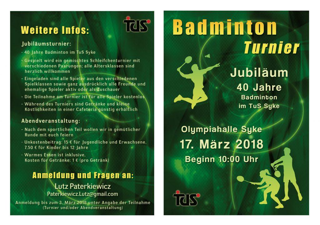 Flyer zum Badmonton-Turnier