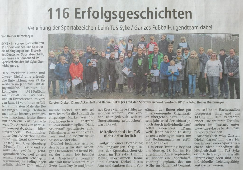 Artikel in der Kreiszeitung vom 19.02.2018 über die Sportabzeichenverleihung