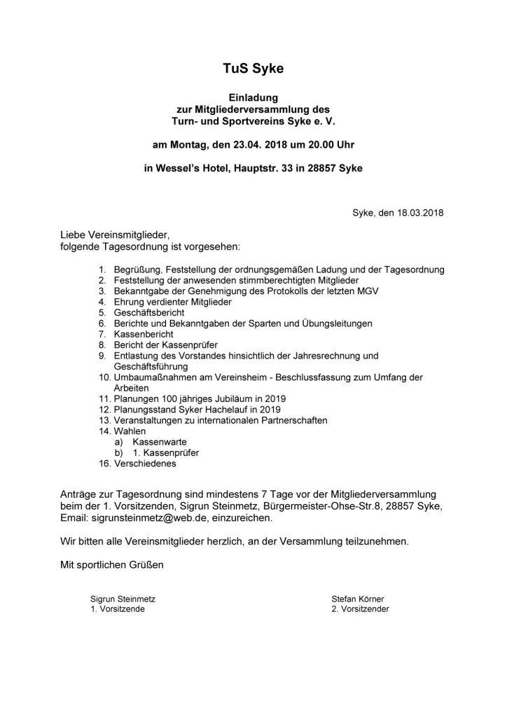 Einladung zur Mitgliederversammlung des Turn- und Sportvereins Syke e. V. am Montag, den 23.04. 2018 um 20.00 Uhr in Wessel's Hotel