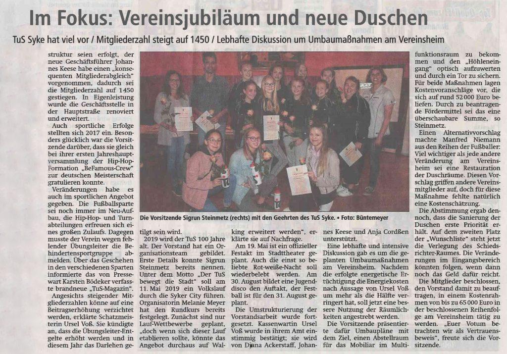 Vereinsjubiläum und neue Duschen - ein Artikel aus der Kreiszeitung vom 26.4.2018