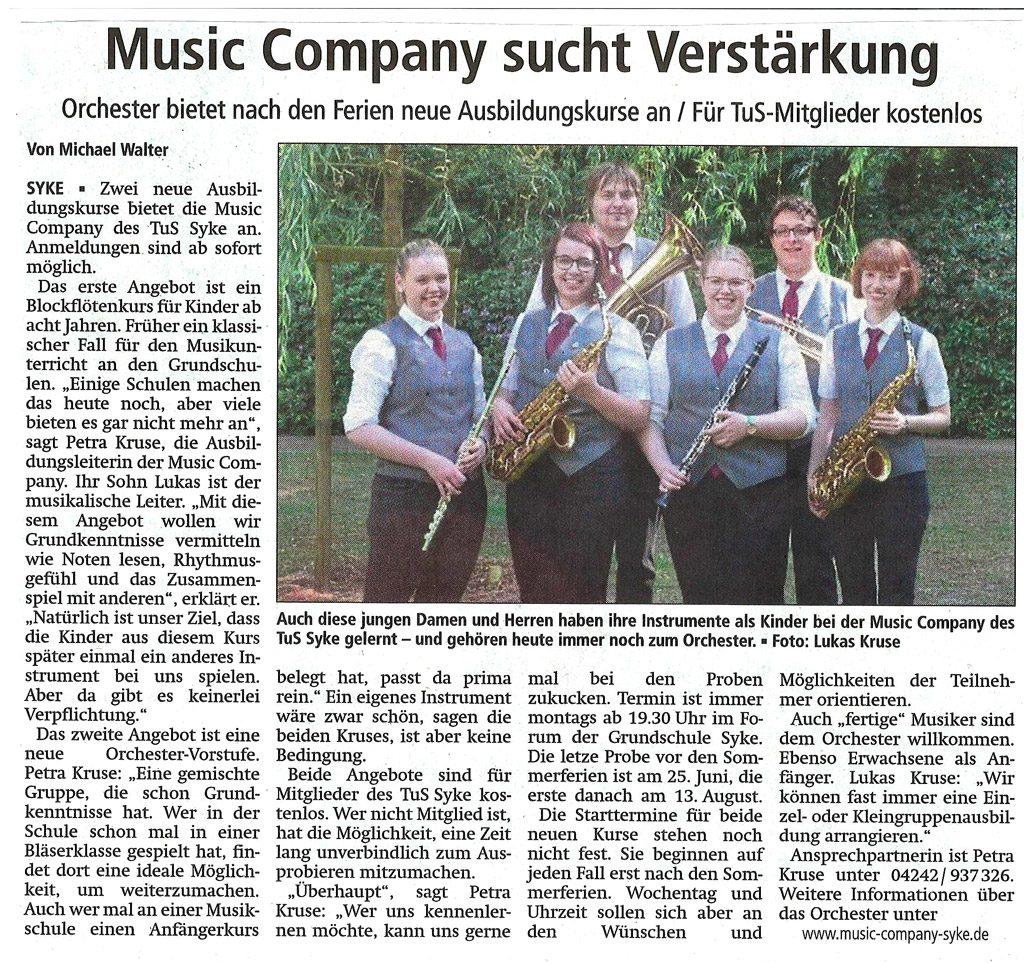 """Artikel """"Music Company sucht Verstärkung"""""""