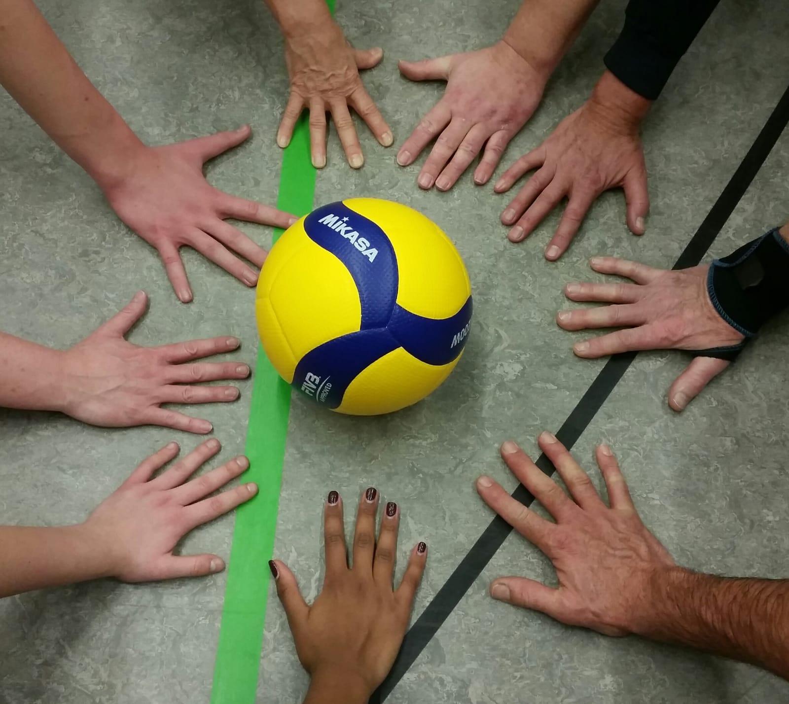 Volleyball in der Mitte und Hände ringsum